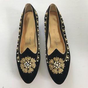 Delman Shoe Salon Vtg Embellished Velvet Flats